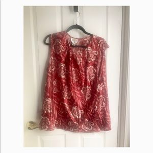 Talbots Red Floral Sleeveless Blouse (Plus Size)